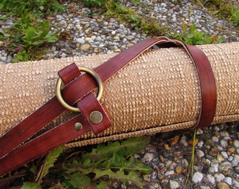 adjustable leather strap or harness yoga mat or leather blanket carrier  genuine leather