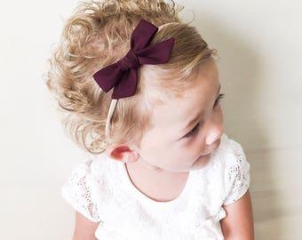 Plum Baby Bow Headband- Tied School Girl Bow - Eggplant Bow Pigtail Clips - Plum Tied Bow Nylon Elastic Headband - Baby Bow Pigtail Clips