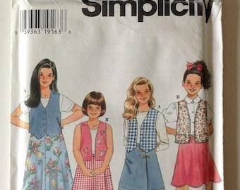 Simplicity 7233 UNCUT Childs Vest and Skirts Size 7,8,10 Vintage 1996