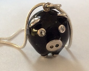 Sterling silver pig pendant charm vintage # 770 S