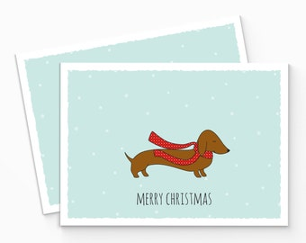 PRINTABLE Merry Christmas Dog Card - Sausage Dog Christmas Card - Dachshund Holiday Card - Merry Christmas Card - DIY Dog Card