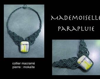 moukaite yellow grey gray stone macrame necklace