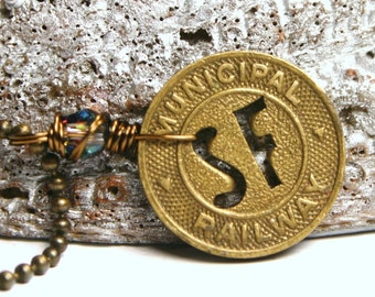 San Francisco CA Transit Token Necklace with Swarovski Crystal Heart Antiqued Brass California Cable Car Trolley Unisex Mens Dudes