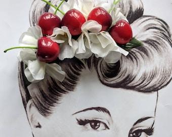 Cherry Blossom Fruit Fascinator Rockabilly Pin Up