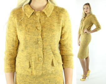Vintage 60s Knit Suit Mustard Wool Cardigan Button Up Sweater Pencil Skirt 1960s Meidum M Pinup Rockabilly