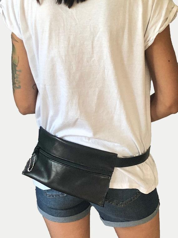 Belt bag leather bum bag minimalist design brown or black gift for women