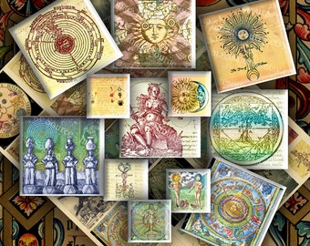 Alchemy Occult and Mysticism Symbols and Illustrations Inchies 2 inch and 1 Inch Squares Digital Collage Sheet Instant Printable Download