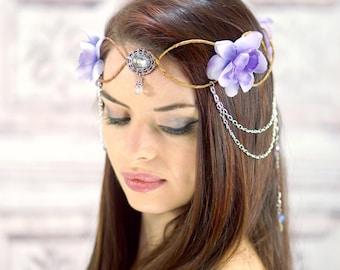 Couronne elfique, coiffe elfique, lavande fleur couronne avec détail en argent, fantaisie coiffe, coiffe, Cosplay, Costume casque, fée