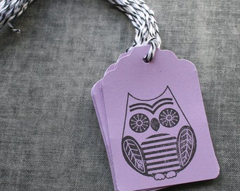 Owl Tags, Owl Paper Tags, Owl Gift Tags,Gift Tags with Baker's Twine, Owl Stamped Tags