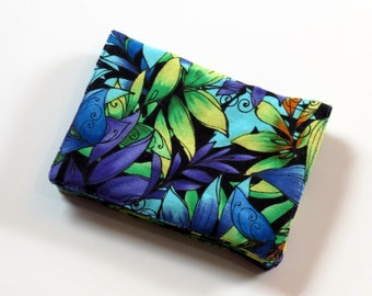 Mini Wallet - Tropical - fabric (with Credit Card slots and zipper Coin pocket)