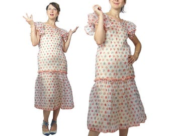 1920S Cotton Organdy Floral Print Day Dress