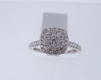 14K White Diamond Halo Cluster Engagement Ring SJ6588CCER