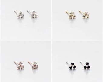 925 Sterling Silver Earrings, Tiny Triple Crystal Earrings, Gold Plated Earrings, Rose Gold Plated Earrings, Stud Earrings (Code : EG48)