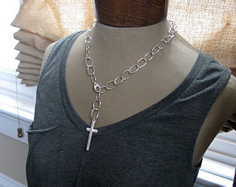 Handmade Chain Necklace Silver Cross Sterling Silver Lariat Choker Silver Necklace Unique Silver Chain Chunky Artisan Silver Bold Silver