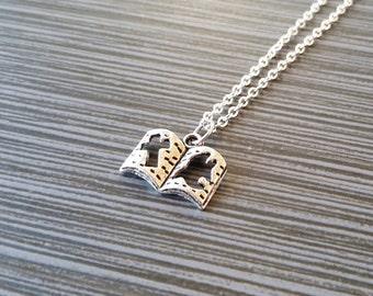 Silver Bible Necklace - Open Book Charm Necklace - Personalized Necklace - Custom Gift - Initial Necklace - Author Gift - Writer Book Lover