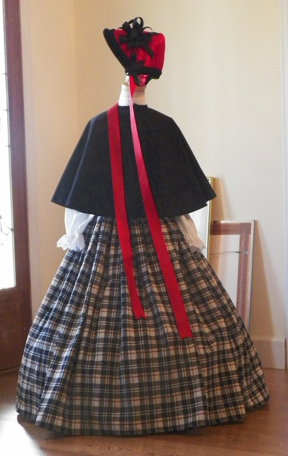 Girls Childs Victorian Dickens Christmas Carolers Holiday Parade Cape Skirt Blouse Bonnet Dress Costume Couture made to fit