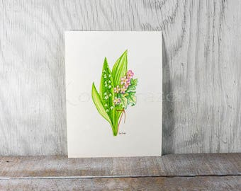 Lily of the valley and Hawthorn flowers, May birthday flower, original watercolor painting, birth month flower, May birthday gift