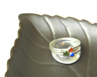 Gemstone and Sterling Stacking Rings Set of 3 R104