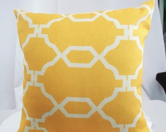 Geometric Yellow pillow cover, Yellow throw pillow, Decorative pillows cushion couch bright sofa decor