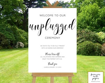 Welcome To Our Unplugged Ceremony, Unplugged Ceremony Sign Printable, Unplugged Wedding Sign, Template, Elegant, Editable Wedding Signs