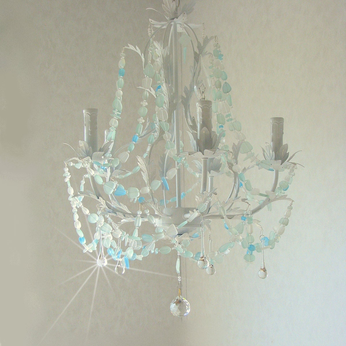 Sea glass chandelier lighting beach cottage chic coastal decor zoom arubaitofo Image collections