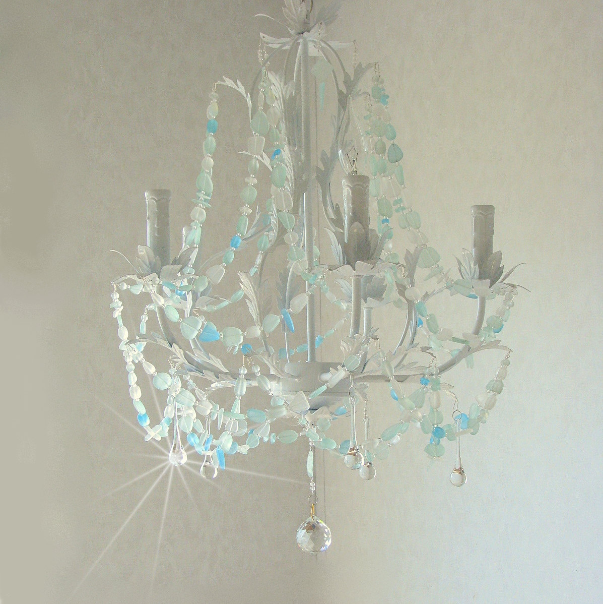 Sea glass chandelier lighting beach cottage chic coastal decor zoom mozeypictures Images