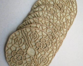 Vintage Crocheted Lace Stem Glass Coaster