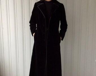 BLACK VELVET MAXI Coat 1970s Floor Length High Quality Cotton Velvet Belted Back and Piping Trimmed Long Coat
