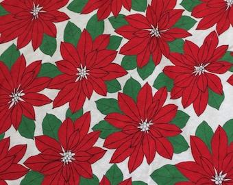 Vintage Christmas fabric Poinsettia Fabric large piece Poinsettia Tablecloth