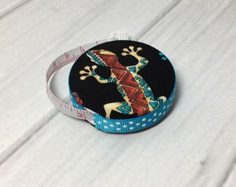 Southwest Geckos (A) Fabric Covered Retractable Tape Measure