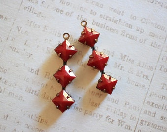 Vintage Siam Trio - 6mm Triple Square Oxidized Brass Geometric Dangle Charm Earring Findings
