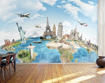 Marble world map removable wallpaper peel stick black white removable map wallpaper childrens world map self ahseive wall mural fly over continents wall sticker gumiabroncs Choice Image