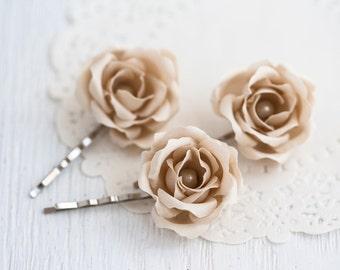 72_ Beige ecru, Hair accessories, Hair pins, Hair pins rose, Rose hair pins, Hair pins bride, Hair pins wedding, Head piece roses, Clips.