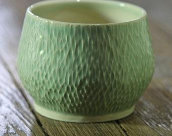 Smaller carved planter with celadon glaze