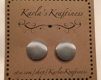 Metallic silver Button Earrings - Fabric Covered Button Earrings -