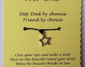 Step-Dad Gift, Fathers day gift, String Wish Bracelet, Cord Wish Bracelet, Keepsake Card, Step-Dad birthday, Step-Dad card, gift Step-Dad