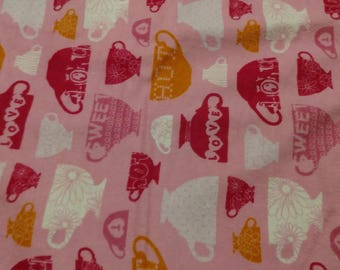 Tea Cups on Pink Flannel Fabric by the yard