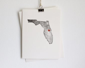 Florida State Greeting Card / Florida Map / Card with Heart / Handmade Card / Florida Wedding / Moving to Florida / Florida Postcard