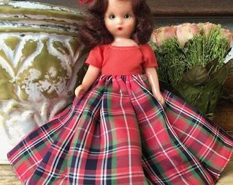 Darling Nancy Ann Storybook Doll in Red Taffeta Dress