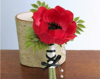 """Red Anemone Boutonniere, Ivory and Black Stem Wrap, Silk Wedding Flowers, Groom's Boutonniere, """"Eternal"""""""