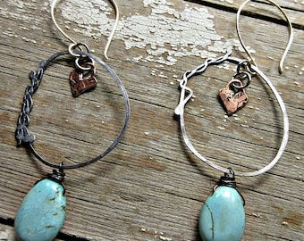Rustic twisted heart hoop earrings by Weathered Soul Jewelry, with magnesite turquoise robins egg blue teardrop stones and a bronze heart!