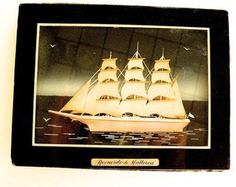 "Ship Assemblage Shadowbox,  Delicate Vintage Ship,  ""Recuerdo De Mallorca"",  1960's Souvenir of Majorca, 3D Picture Spanish Handcrafted Ship"