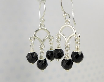 Black Onyx Sterling Silver Earrings. Black Stone -Jet-