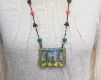 Assemblage Jewelry, Hula Girl Necklace, Lenticular Jewery, Retro Necklace, OOAK Statement Necklace, Rockabilly Necklace, Tropical Jewelry