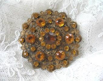 Vintage Victorian Sash Pin  Brooch ~ Amber Stone