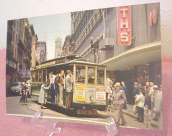 Vintage Smith News Co Cable Car on Turntable Postcard San Francisco, CA the City by the Golden Gate Powell Market Streets Famous Corner EC