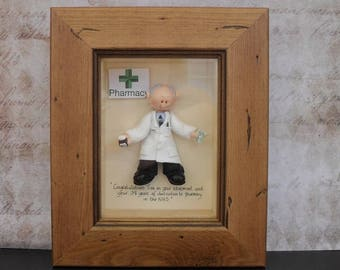 PERSONALISED PHARMACIST GIFT, Male Professor, Scientist Framed Polymer Clay Characters,  Retirement, Promotion, Birthdays M or F