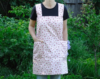 Natural cotton apron women Kitchen apron with pockets Garden apron Pink apron Rose apron Cross back apron Housewarming gift crafter gift