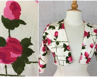 vintage 1950's Cotton bolero jacket, pink flowers on ivory