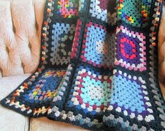 Vintage Granny Square Afghan Throw Blanket Bohemian Boho Hand Crochet Crocheted Bedding Vintage Linens